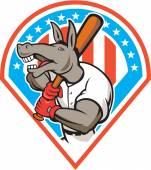 Donkey Baseball Player Batting Diamond Cartoon — Stock Vector