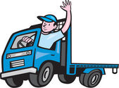 Flatbed Truck Driver Waving Cartoon — Stok Vektör