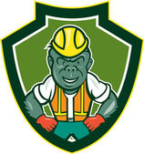 Angry Gorilla Construction Worker Shield Cartoon — Stock Vector