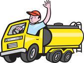 Tanker Truck Driver Waving Cartoon — Stock Vector