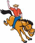 Rodeo Cowboy Riding Bucking Bronco Cartoon — Stock Vector