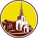 Trinity Parish Episcopal Church Woodcut Retro — Stock Vector #54862841