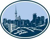 Auckland City Skyline Woodcut Retro — Vetorial Stock