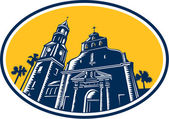 Cathedral Basilica of St. Augustine Woodcut Retro — Vetorial Stock