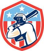 American Baseball Batter Hitter Shield Retro — Stock Vector