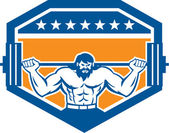 Bodybuilder Lifting Barbell Shield Retro — Stock Vector