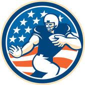 American Football Running Back Fending Circle — Stock Vector