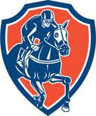Jockey Horse Racing Shield Retro — Stock Vector