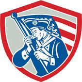 American Patriot Soldier Waving Flag Shield — Stock Vector
