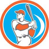 Baseball Batter Hitter Bat Circle Retro — Stock Vector