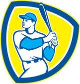 Baseball Batter Hitter Bat Shield Retro — Stock Vector