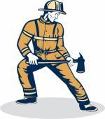 Fireman Firefighter Standing Holding Fire Axe  — Stock Vector