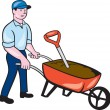 Gardener Pushing Wheelbarrow Cartoon — Stock Vector #55129931