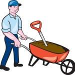 Gardener Pushing Wheelbarrow Cartoon — Stock Vector #55129931