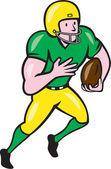 American Football Receiver Running Ball Cartoon — Stockvector