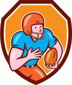 American Football Receiver Running Ball Shield — Stockvector