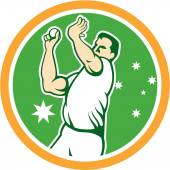Australian Cricket Fast Bowler Bowling Ball Circle Cartoon — Stock Vector