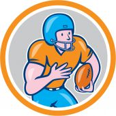American Football Receiver Running Ball Circle Shield — Stok Vektör