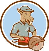 Donkey Concrete Saw Consaw Circle Cartoon — Stok Vektör