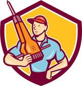 Construction Worker Jackhammer Shield Cartoon — Stock Vector