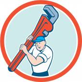 Plumber Carrying Monkey Wrench Circle Cartoon — Stock Vector