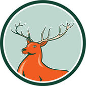 Red Stag Deer Side Circle Cartoon — Stock Vector