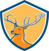 Red Stag Deer Head Shield Cartoon — Stock Vector