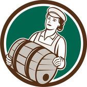 Female Bartender Carrying Keg Circle Retro — Stock Vector