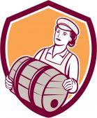 Female Bartender Carrying Keg Shield Retro — Stock Vector