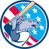 Wolf Baseball With Bat USA Stars Circle Retro — Stock Vector