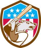 Wolf Baseball With Bat USA Stars Shield Retro — Stock Vector