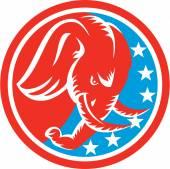 Elephant Head Side Stars Circle Retro — Stock Vector