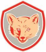 Red Fox Head Front Shield Retro — Stock Vector
