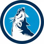 Red Fox Head Howling Circle Retro — Stock Vector