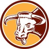 Angry Texas Longhorn Bull Head Woodcut — Vecteur