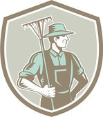 Organic Farmer Rake Shield Woodcut Retro — Vetorial Stock