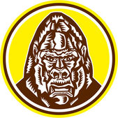 Angry Gorilla Head Circle Woodcut Retro — Vetorial Stock