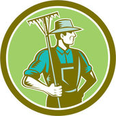 Organic Farmer Rake Woodcut Retro — Vetorial Stock
