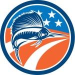 Sailfish Fish Jumping American Flag Circle Retro — Stock Vector #56390053