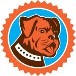 Bulldog Dog Mongrel Head Mascot Rosette — Stock Vector #56508203