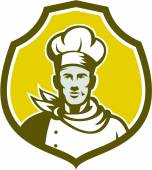 Baker Chef Cook Bust Front Shield Retro — Stock Vector