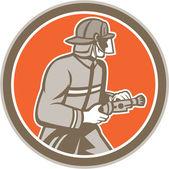 Fireman Firefighter Fire Hose Circle Retro — Stock Vector