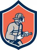 Fireman Firefighter Fire Hose Shield Retro — Stock Vector