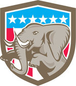 Elephant Prancing Stars Shield Retro — Stock Vector