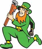 Leprechaun Plumber Wrench Running Retro — Stock Vector