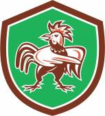 Chicken Rooster Angry Pointing Shield Retro — ストックベクタ