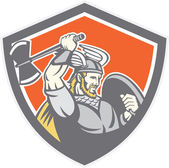 Viking Raider Barbarian Warrior Axe Shield — Stock Vector