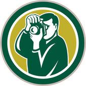 Photographer Aiming Camera Circle Retro — Stock Vector