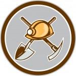 Miner Hardhat Spade Pick Axe Circle Retro — Stock Vector #57946315