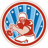 American Football QB Throwing Circle Retro — Stock Vector